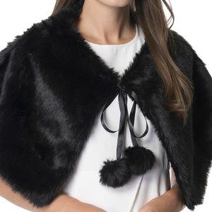 Faux Fur Stole Wrap with Pom Pom Black